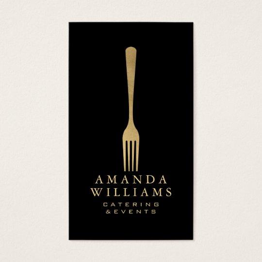 Elegant Faux Gold Fork Catering Logo on Black