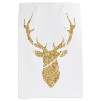 Elegant Faux Gold Glitter Christmas Deer Medium Gift Bag