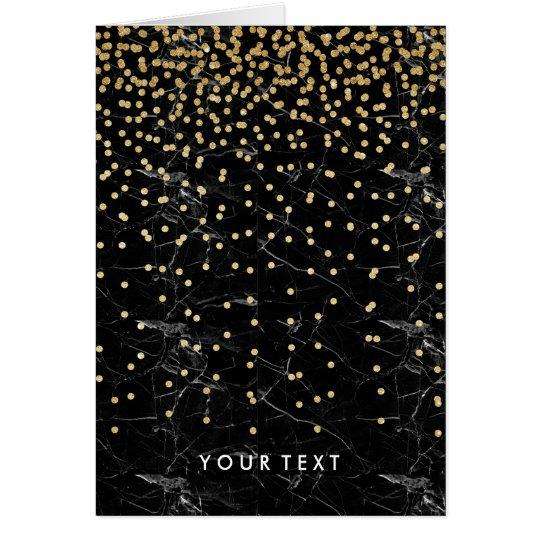 elegant faux gold glitter confetti black marble card