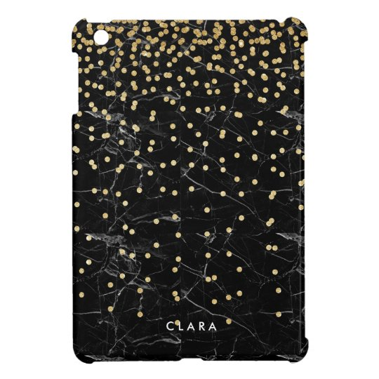 elegant faux gold glitter confetti black marble case