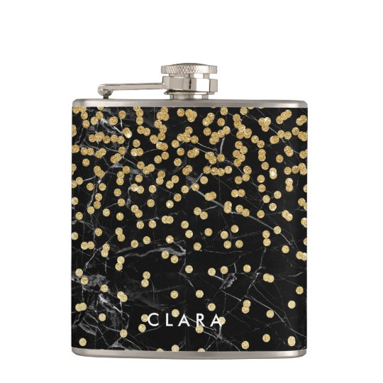 elegant faux gold glitter confetti black marble hip