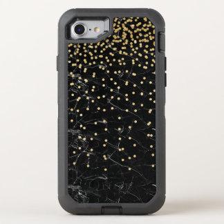 elegant faux gold glitter confetti black marble OtterBox defender iPhone 8/7 case