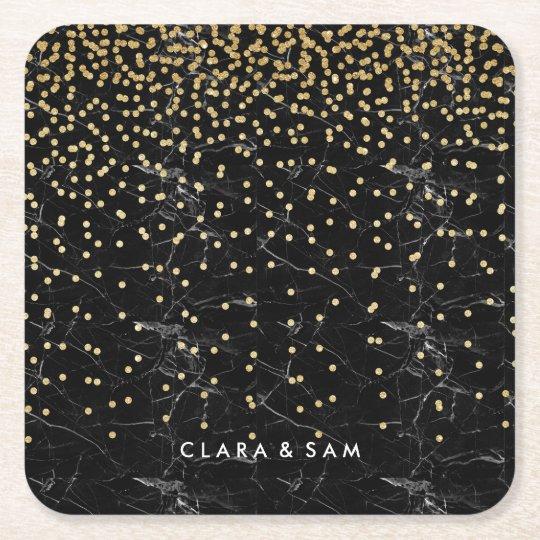elegant faux gold glitter confetti black marble square