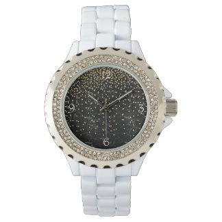 elegant faux gold glitter confetti black marble watch