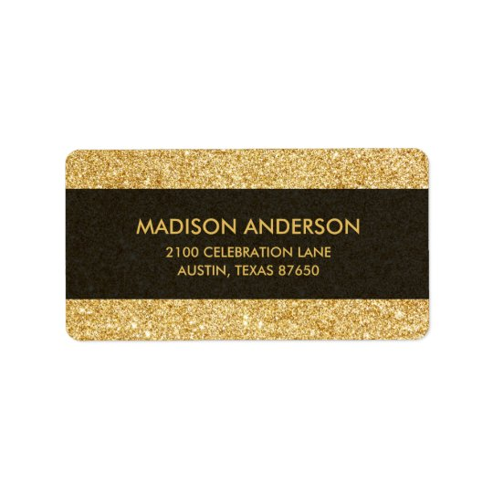 Elegant Faux Gold Glitter Label