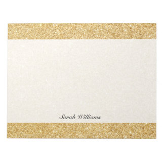 Elegant Faux Gold Glitter Notepads