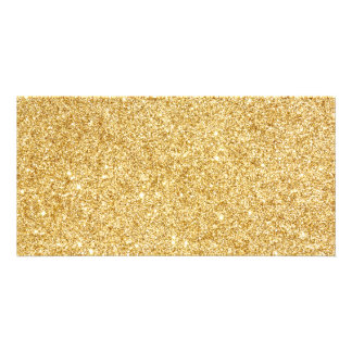 Elegant Faux Gold Glitter Photo Card