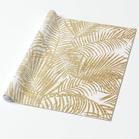 Elegant faux gold glitter tropical palm tree flora