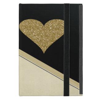 Elegant Faux Gold Glittery  Heart-Black and Cream Case For iPad Mini