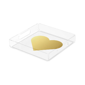 Elegant Faux Gold Heart Acrylic Tray