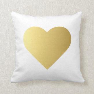 Elegant Faux Gold Heart Cushion