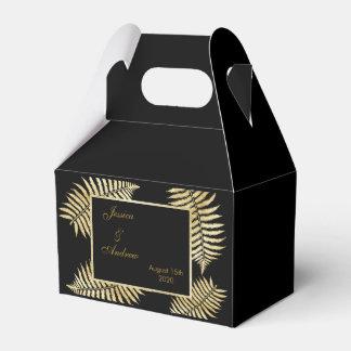 Elegant Faux Gold Leaf Bracken Wedding Favour Box