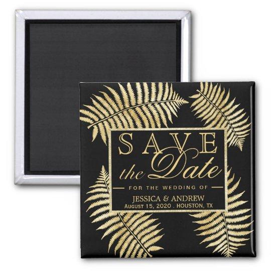 Elegant Faux Gold Leaf Bracken Wedding Magnet