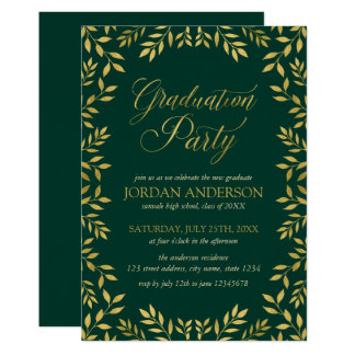 Elegant Faux Gold Leaves Graduation Party Card
