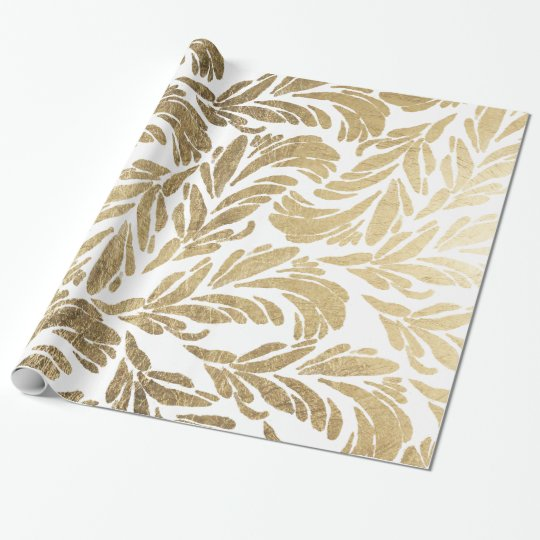 Elegant faux gold modern floral damask pattern wrapping