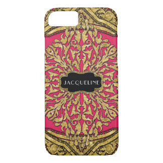 Elegant Faux Gold Moroccan Swirl Scroll Hot Pink iPhone 8/7 Case