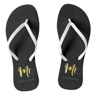 Elegant Faux Gold Name Mr Black Stripes Flip Flops
