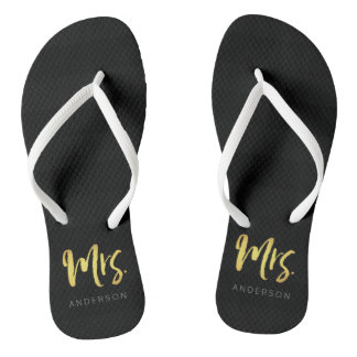 Elegant Faux Gold Name Mrs Black Stripes Flip Flops