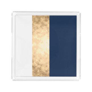 elegant faux gold, navy blue, white stripes acrylic tray