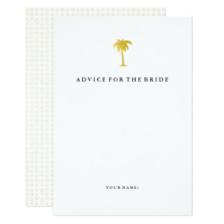 Elegant Faux Gold Palm Tree Advice for the Bride Card
