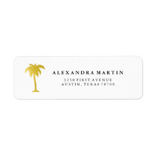 Elegant Faux Gold Palm Tree Return Address Label