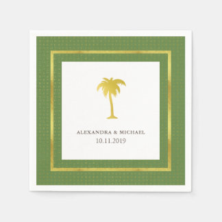 Elegant Faux Gold Palm Tree Wedding | Green Paper Napkin