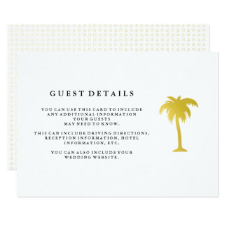 Elegant Faux Gold Palm Tree Wedding Guest Details Card