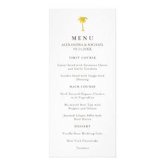 Elegant Faux Gold Palm Tree Wedding Menu | Green Rack Card Design