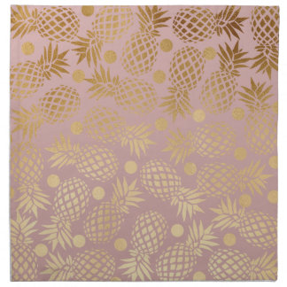 elegant faux gold pineapple pattern polka dots napkin
