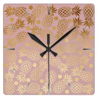 elegant faux gold pineapple pattern polka dots square wall clock