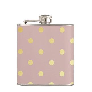 elegant faux gold pink polka dots hip flask
