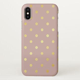 elegant faux gold pink polka dots iPhone x case