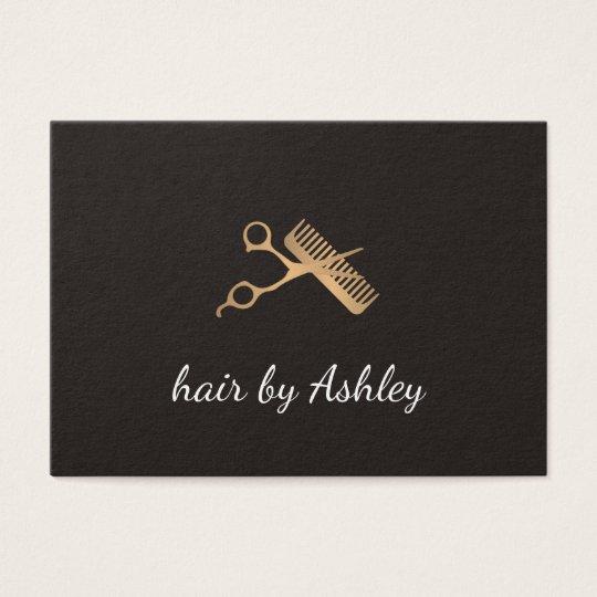 Elegant Faux Gold Scissors Comb Hair Stylist Business