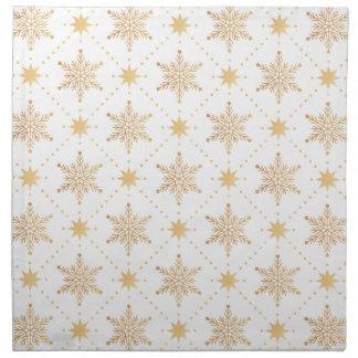 Elegant Faux Gold Snowflakes Christmas Patttern Napkin