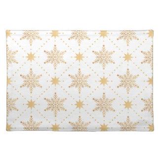 Elegant Faux Gold Snowflakes Christmas Patttern Placemat