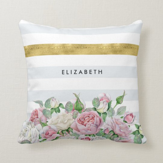 Elegant FAUX Gold Stripe With Pink Roses and