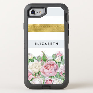 Elegant FAUX Gold Stripe With Pink Roses and Name OtterBox Defender iPhone 8/7 Case