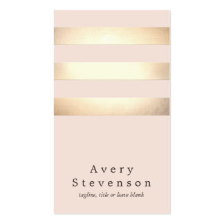 Elegant Faux Gold Striped Modern Light Pink Chic Double-Sided Standard Business Cards (Pack Of 100)
