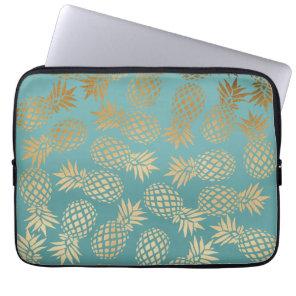 elegant faux gold tropical pineapple pattern laptop sleeve