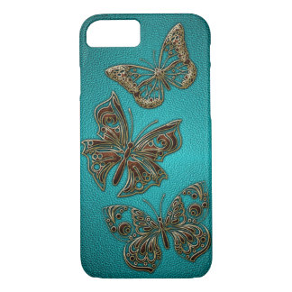 Elegant Faux Leather Golden Butterflies design iPhone 8/7 Case