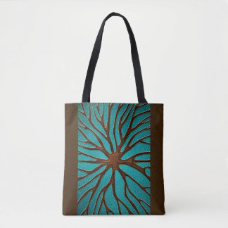 Elegant Faux  Leather  Oriental Root design Tote Bag