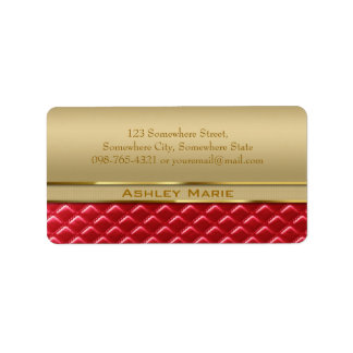 Elegant Faux Metallic Gold Quilted Red Leather Address Label