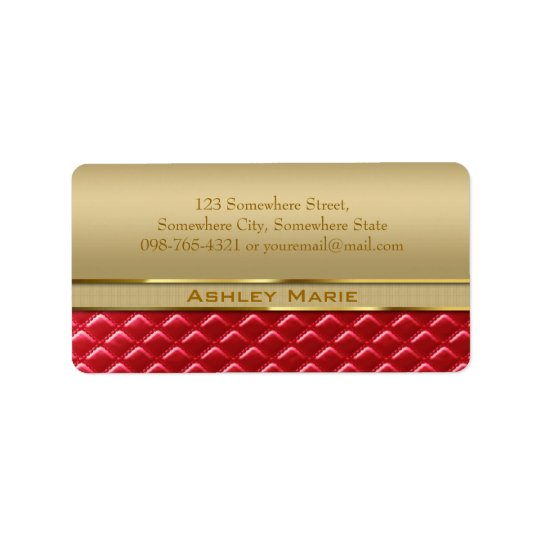 Elegant Faux Metallic Gold Quilted Red Leather Address