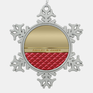 Elegant Faux Metallic Gold Quilted Red Leather Pewter Snowflake Decoration