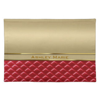 Elegant Faux Metallic Gold Quilted Red Leather Placemats