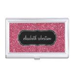Elegant FAUX Pink Glitter Business Card Holder