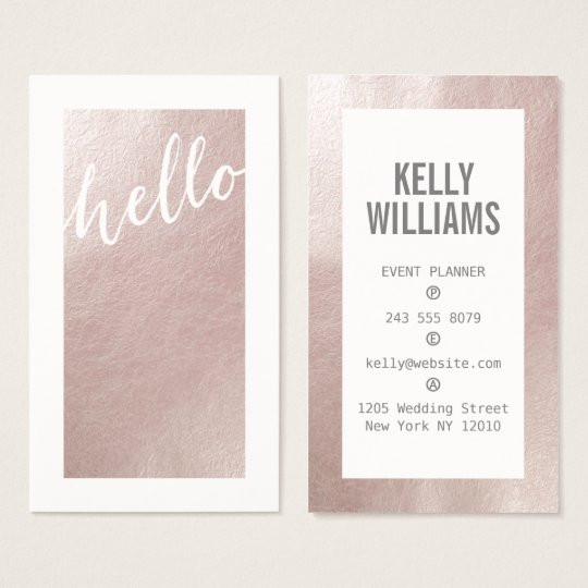 Elegant faux pink rose gold foil chic hello