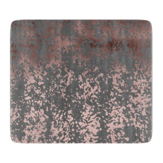 elegant faux rose gold and grey brushstrokes cutting board