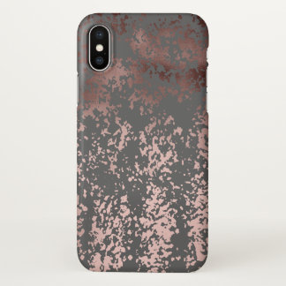 elegant faux rose gold and grey brushstrokes iPhone x case