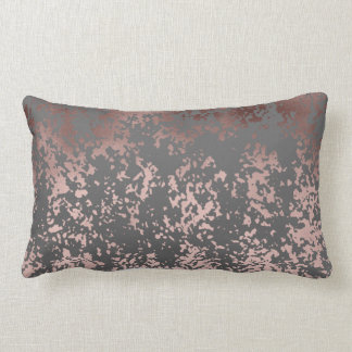 elegant faux rose gold and grey brushstrokes lumbar cushion